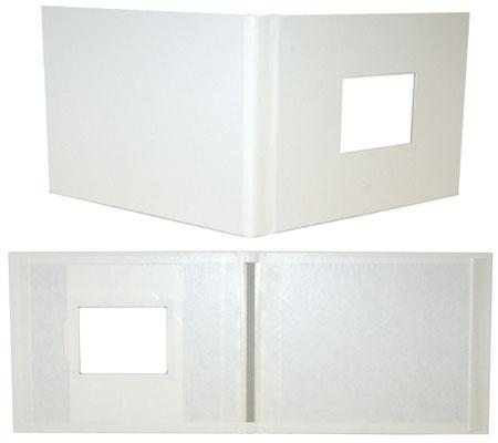 White Leatherette Fastback® Photobooks with Window, 11in x 8.5in