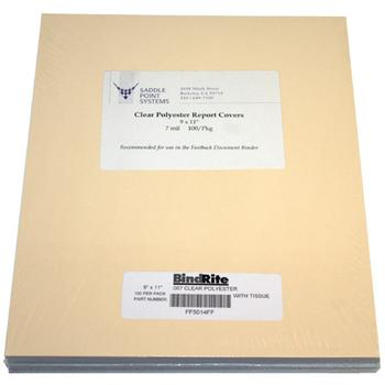 "9"" x 11"" Clear Polyester Heat Resistant Binding Covers"