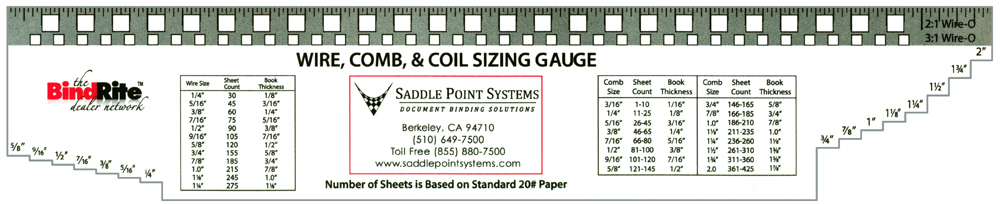 Saddle Point Systems Wire, Coil and Comb Sizing Gauge